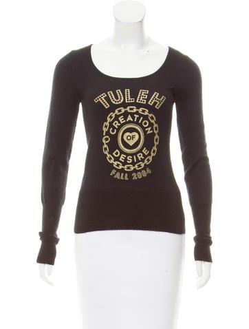 Tuleh Printed Cashmere & Silk-Blend Top None