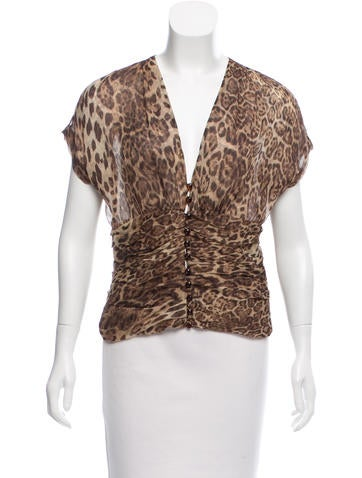 Tuleh Leopard Print Semi Sheer Top None