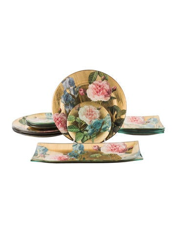 Scott Potter 13-Piece Decoupage Tableware Set None