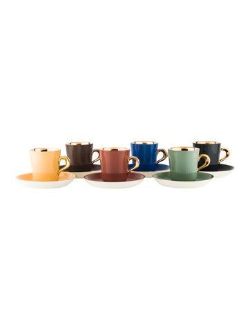 12-Piece Figgjo Flint Harlequin Demitasse Cups & Saucers None