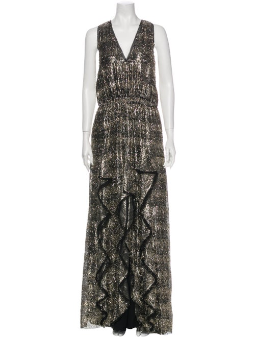 Twilley Atelier Printed Long Dress Gold