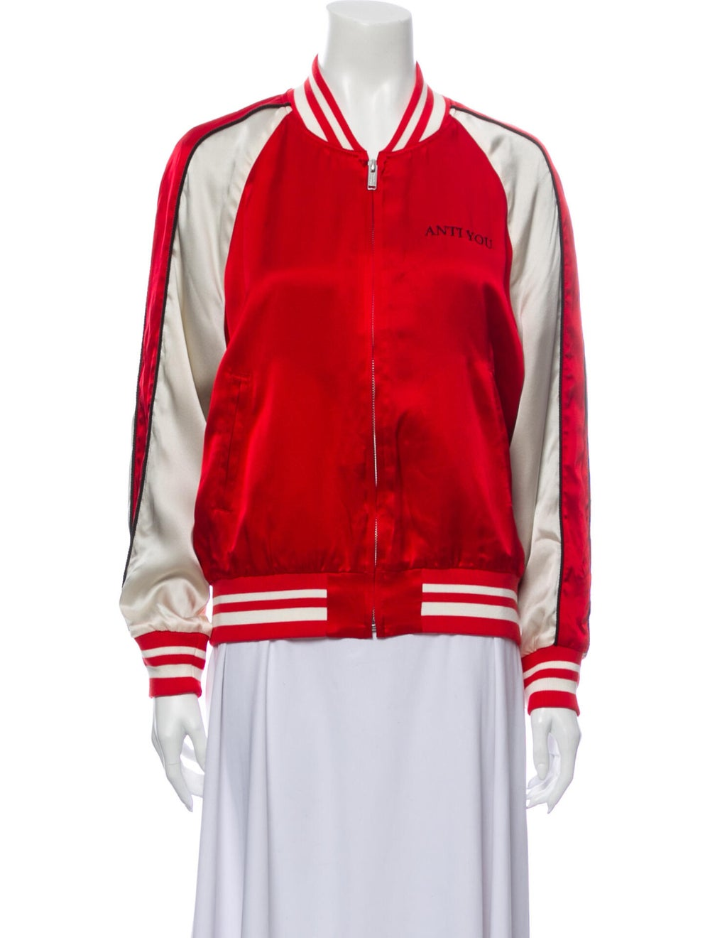 Undercover Silk Striped Bomber Jacket w/ Tags Red - image 1