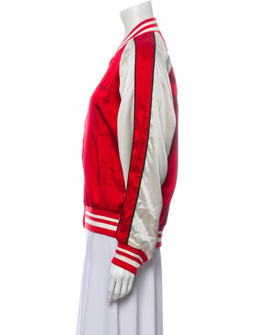 Undercover Silk Striped Bomber Jacket w/ Tags Red - image 2