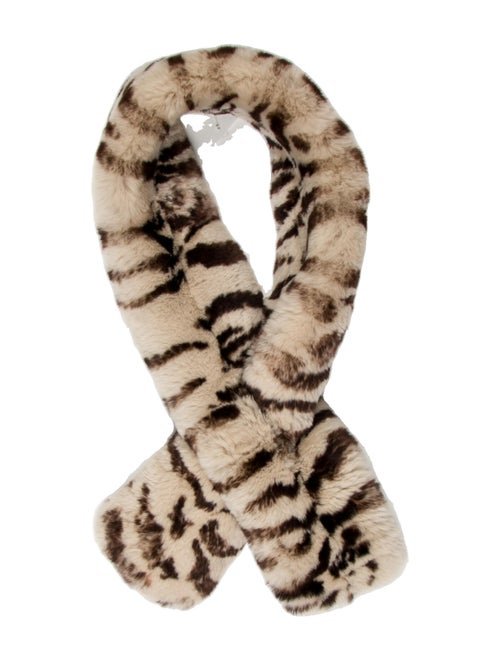 Unsigned Fur Animal Print Stole Brown