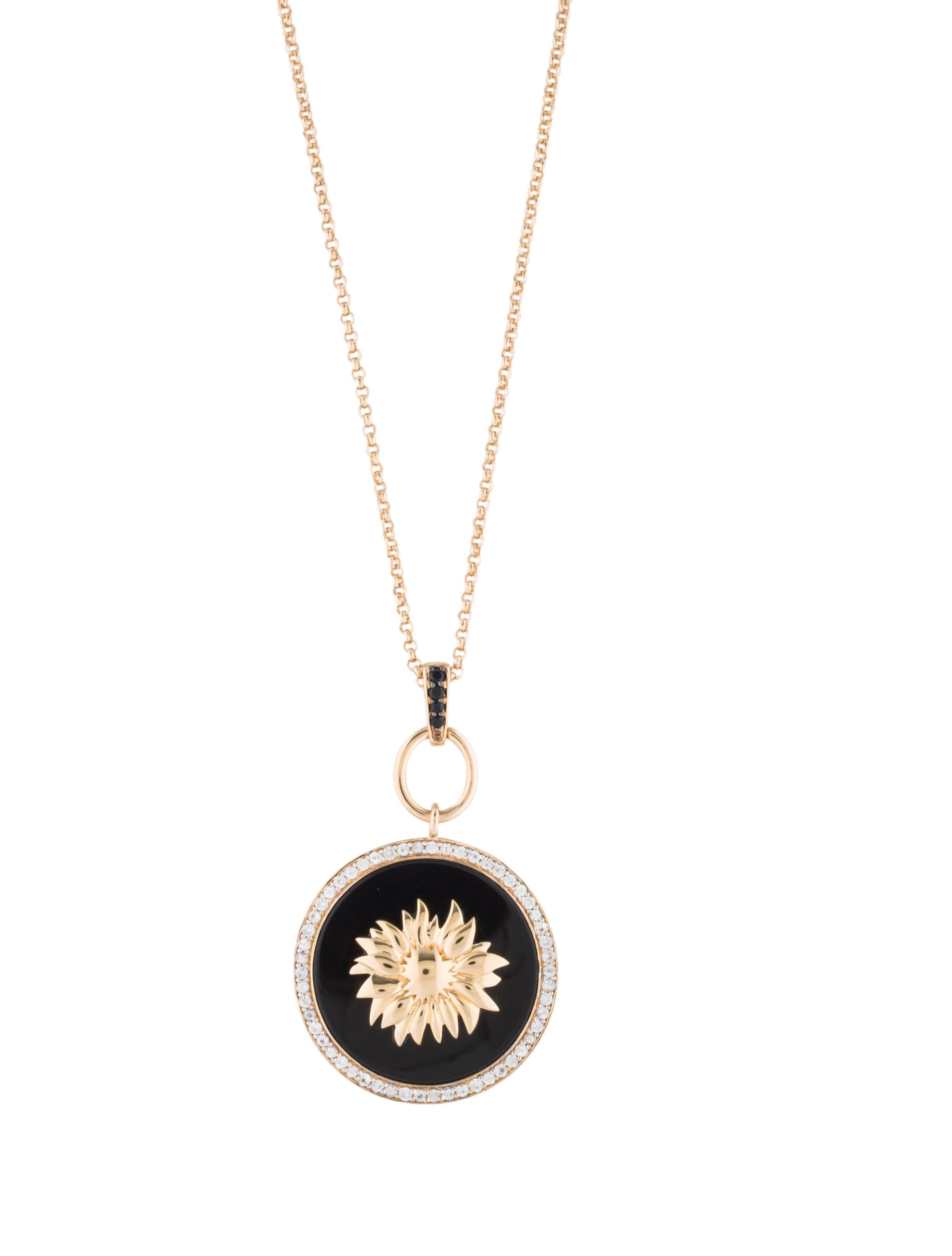 V1969 onyx sapphire sunflower pendant necklace necklaces onyx sapphire sunflower pendant necklace aloadofball Gallery