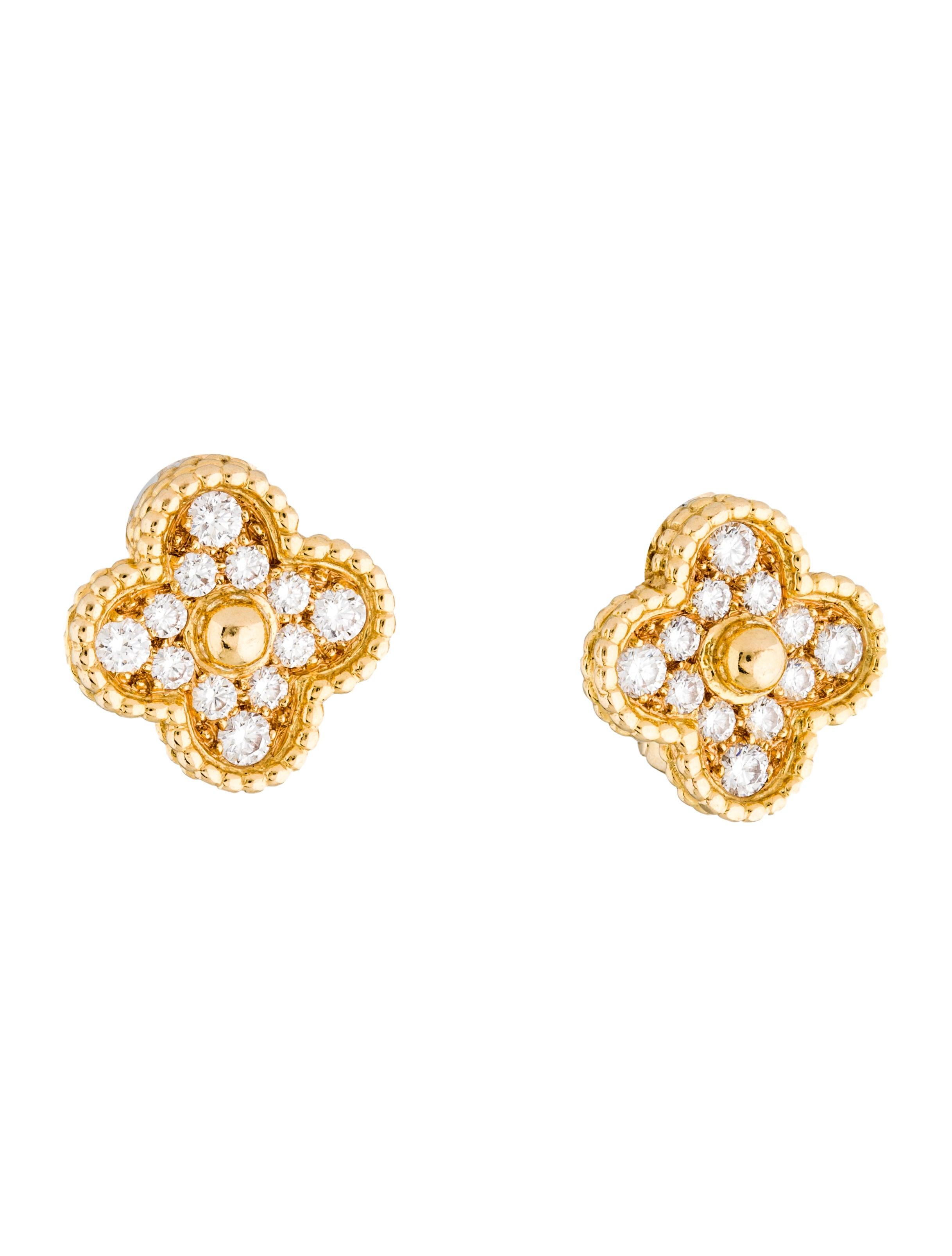 Van Cleef & Arpels Vintage Alhambra Diamond Stud Earrings