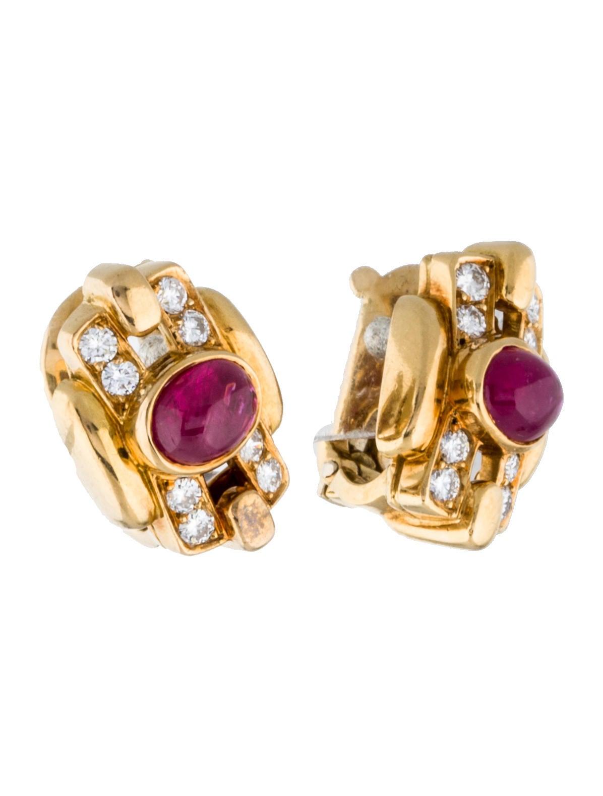 Van Cleef Amp Arpels 18k Ruby Amp Diamond Clip On Earrings