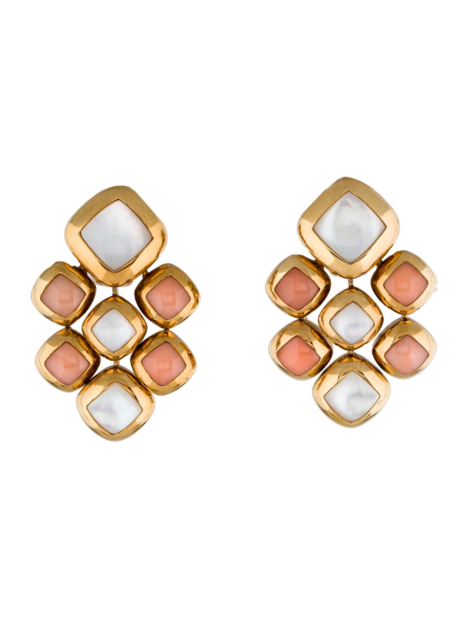 Van Cleef Amp Arpels Coral And Mother Of Pearl Drop Earrings