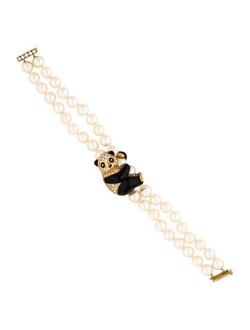 Van Cleef & Arpels Enamel Diamond Panda Pearl Bracelet