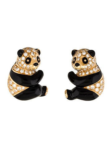 Van Cleef & Arpels Enamel & Diamond Panda Earrings