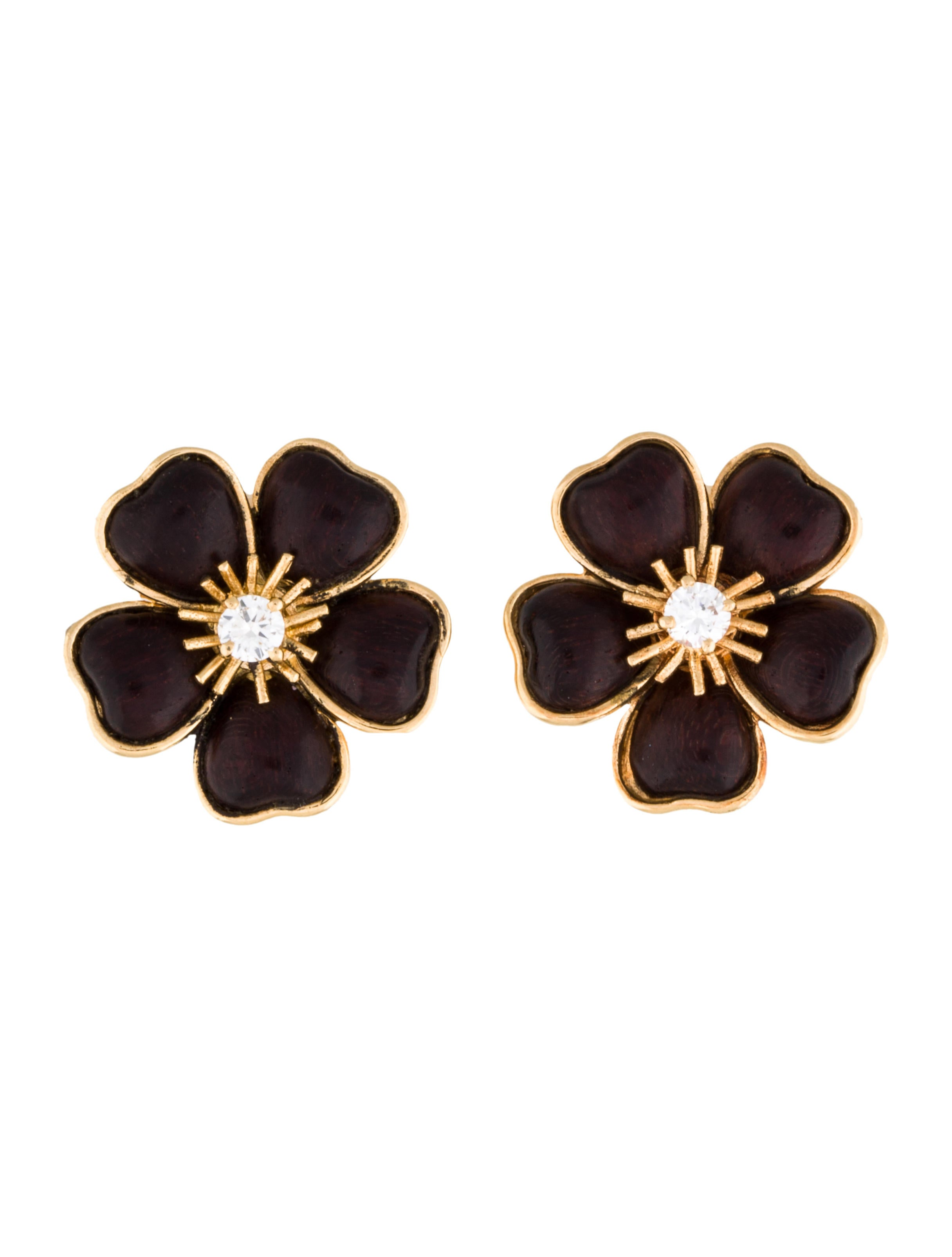 Clematis Wood & Diamond Flower Earrings