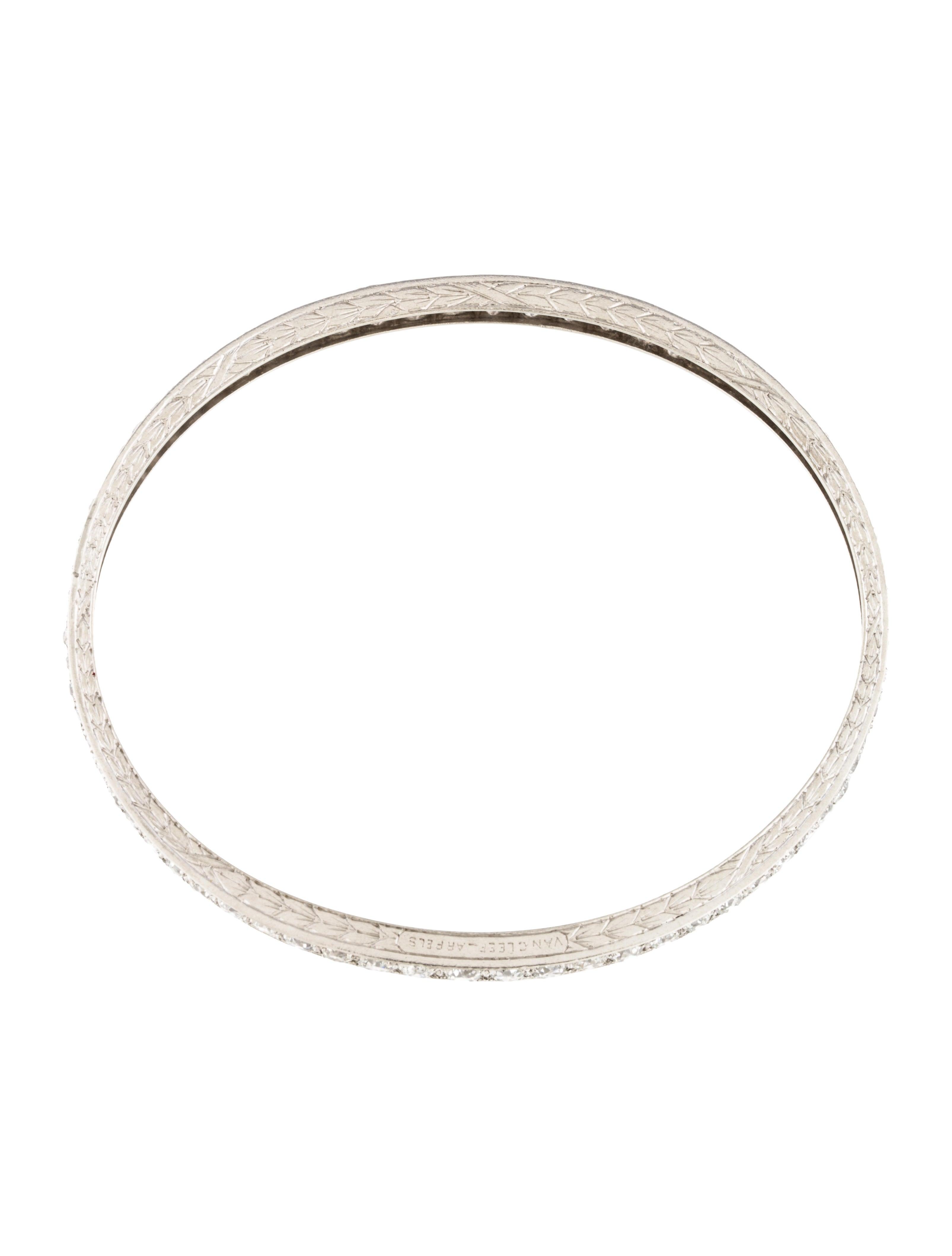 van cleef amp arpels platinum diamond bangle bracelet