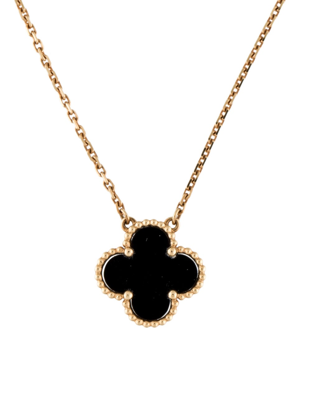 Van Cleef & Arpels Onyx Vintage Alhambra Necklace… - image 1