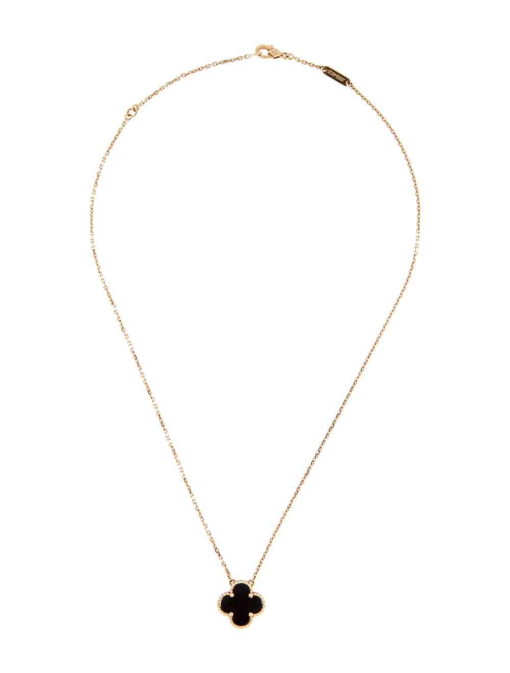 Van Cleef & Arpels Onyx Vintage Alhambra Necklace… - image 3