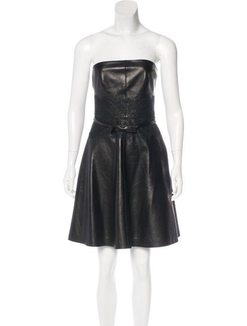 Valentino Leather Belted Dress Black