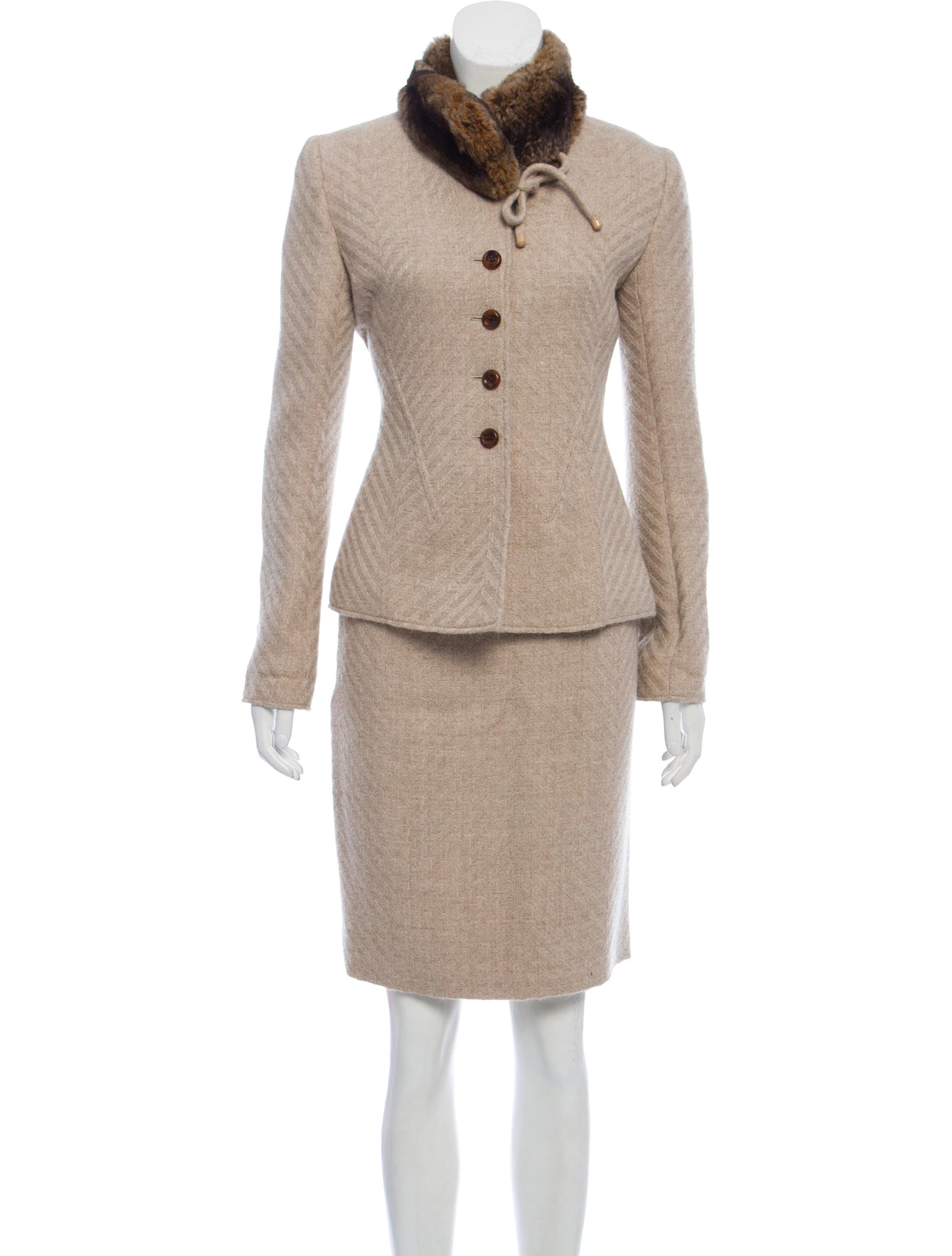 514ea6f1e Valentino Vintage Fur Trim Skirt Suit - Clothing - VAL119877 | The ...