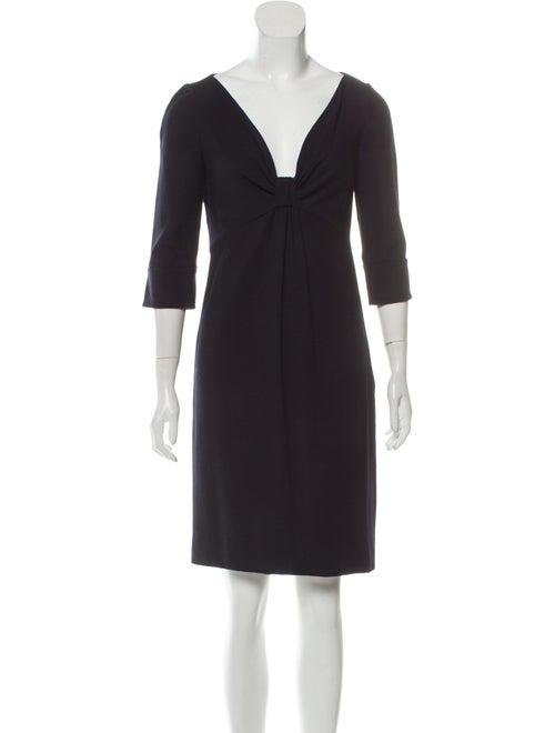 Valentino Long Sleeve V-Neck Dress Navy
