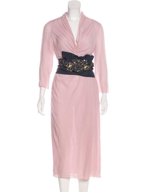 Valentino Silk Embellished Dress Pink