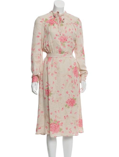 Valentino Silk Midi Dress Beige