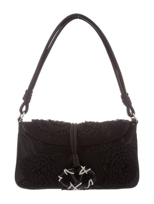 Valentino Embellished Satin Catch Bag Black