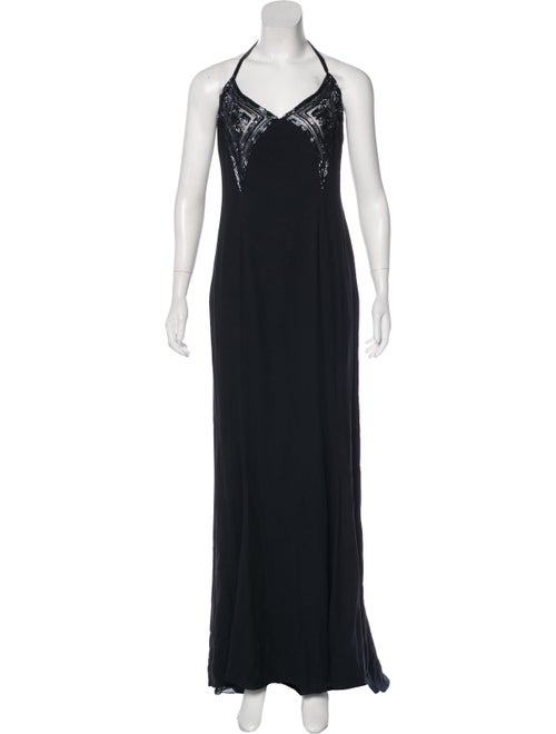 Valentino Silk Embellished Gown Navy