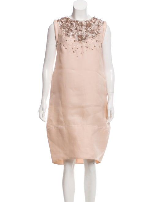 Valentino Embellished Silk Dress Champagne