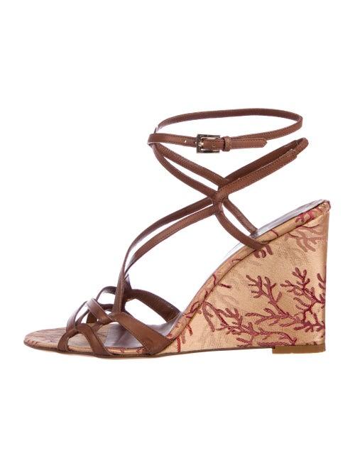Valentino Leather Peep-Toe Wedge Sandals Brown