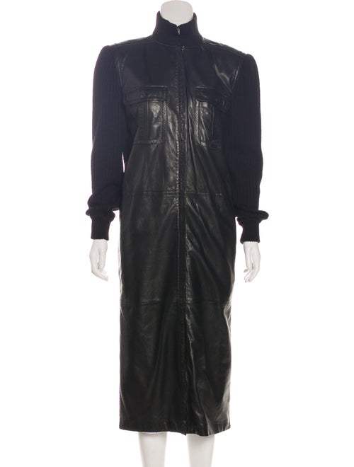 Valentino Vintage Leather Coat Black
