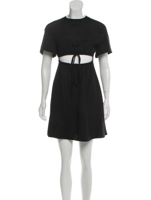 Valentino Cut-Out Silk Dress Black