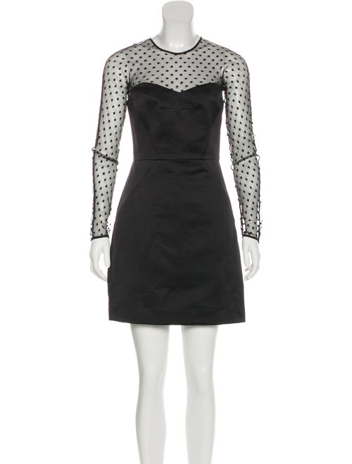 Valentino Mesh-Paneled Satin Dress Black