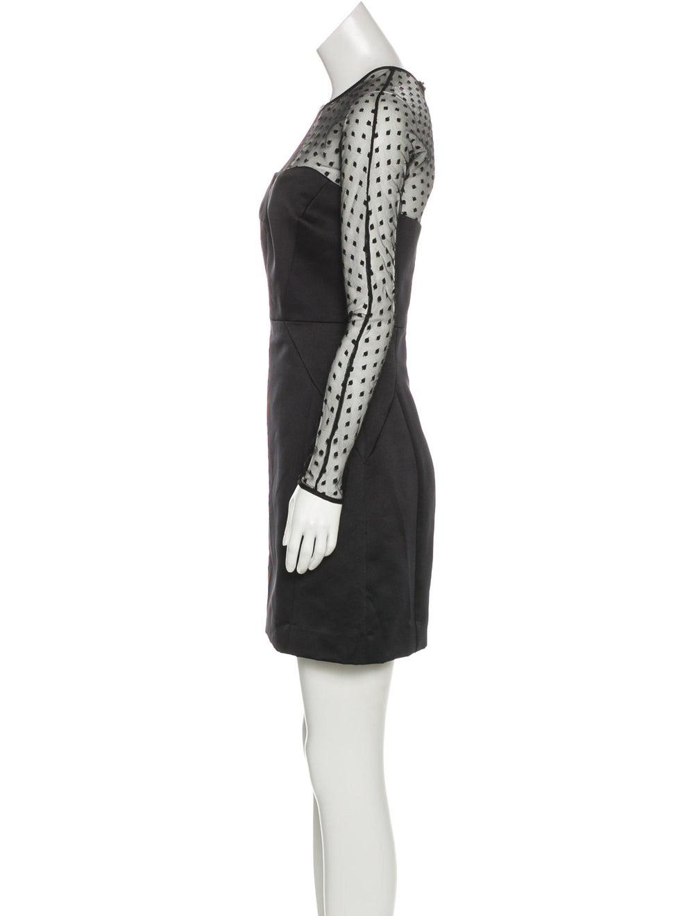 Valentino Mesh-Paneled Satin Dress Black - image 2