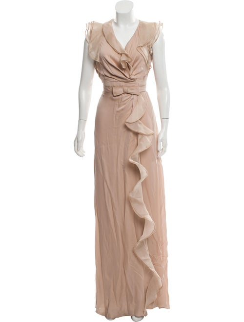 Valentino Silk Sleeveless Gown Beige