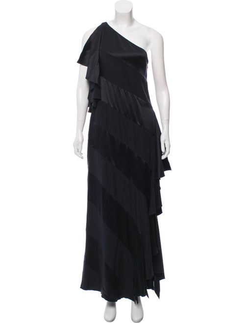 Valentino One Shoulder Satin Evening Dress Black