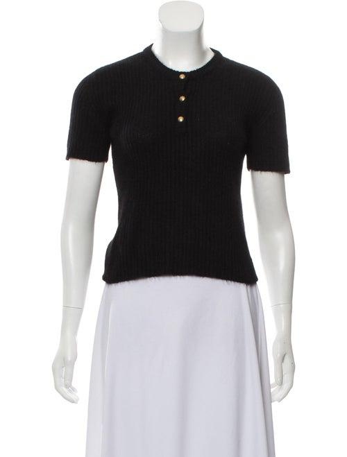 Valentino Short Sleeve Knit Sweater Black