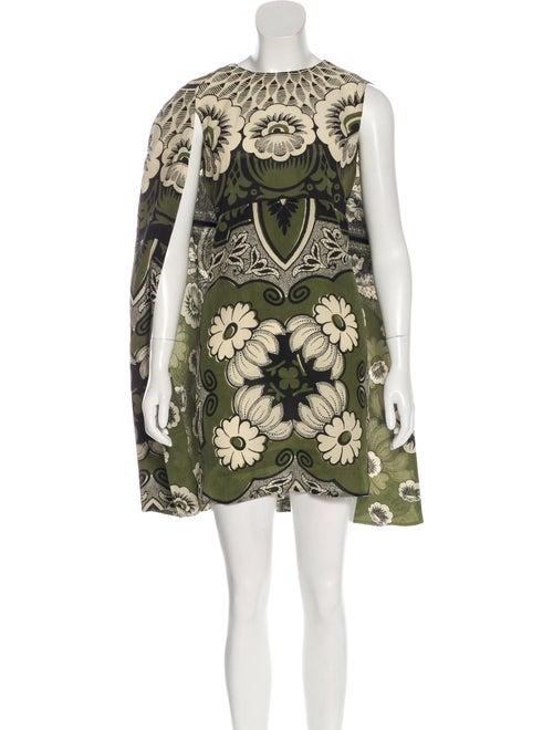 Valentino Mime Cape Dress Olive