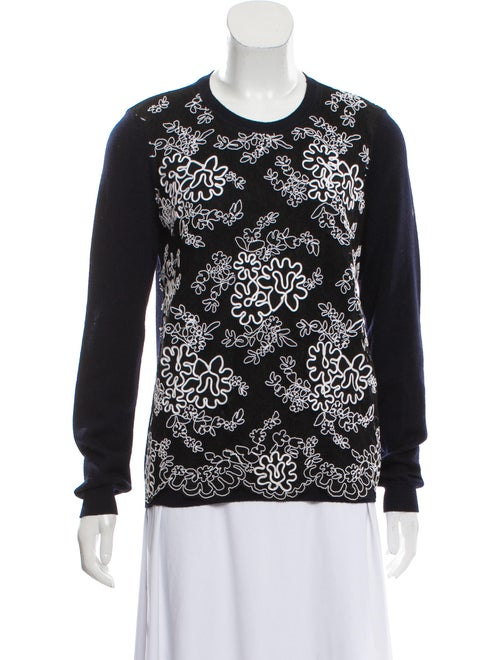 Valentino Embroidered Knit Sweater Navy