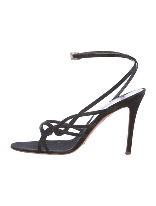 Valentino Satin Ankle Strap Sandals Black