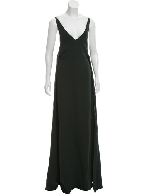 Valentino Sleeveless Silk Gown green