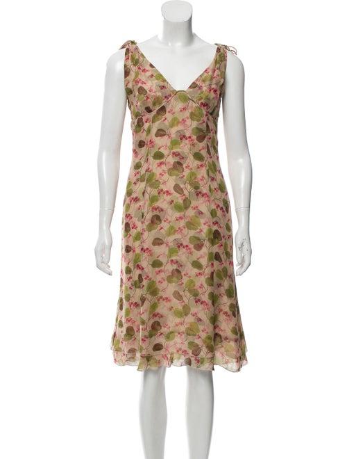 Valentino Printed Silk Dress Tan