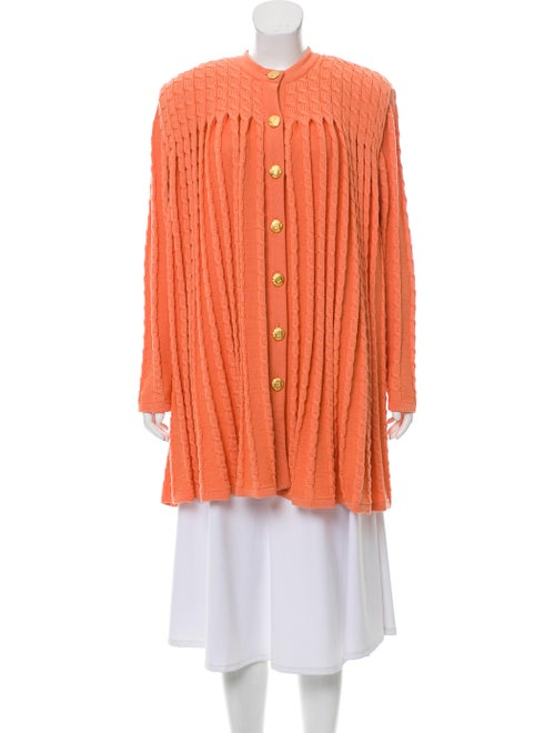 Valentino Wool Cable Knit Cardigan Orange