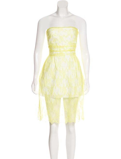 Valentino Silk Lace Dress Yellow