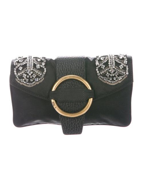 Valentino Embellished Satin Clutch Black