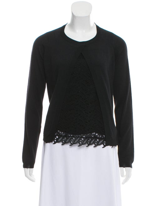 Valentino Lace-Trimmed Lightweight Sweater Black