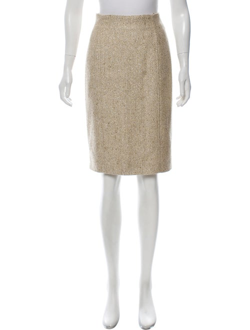 Valentino Metallic Tweed Skirt Metallic