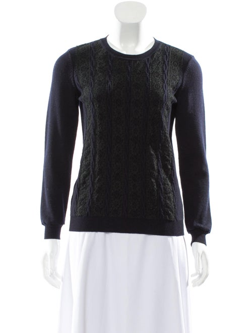 Valentino Lace-Trimmed Wool Sweater Navy