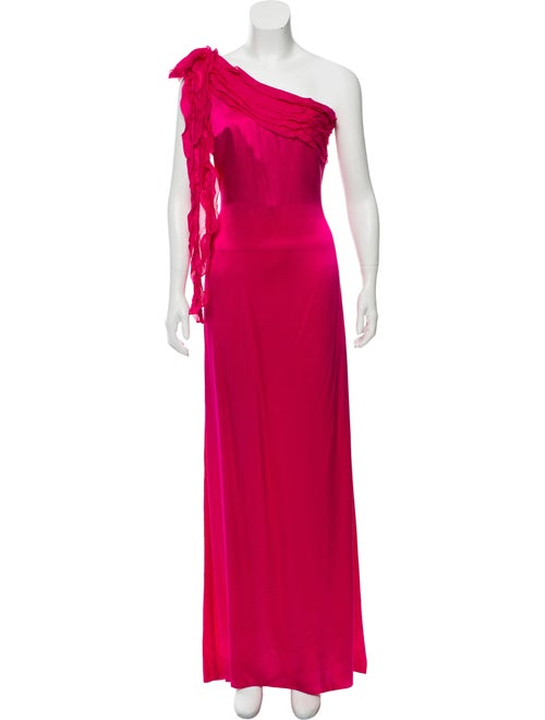 Valentino One-Shoulder Evening Gown Fuchsia