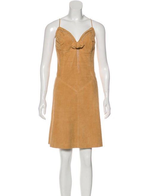 Valentino Suede Mini Dress Tan