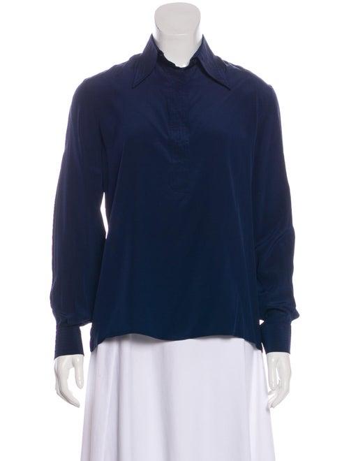 Valentino Long Sleeve Silk Blouse Navy