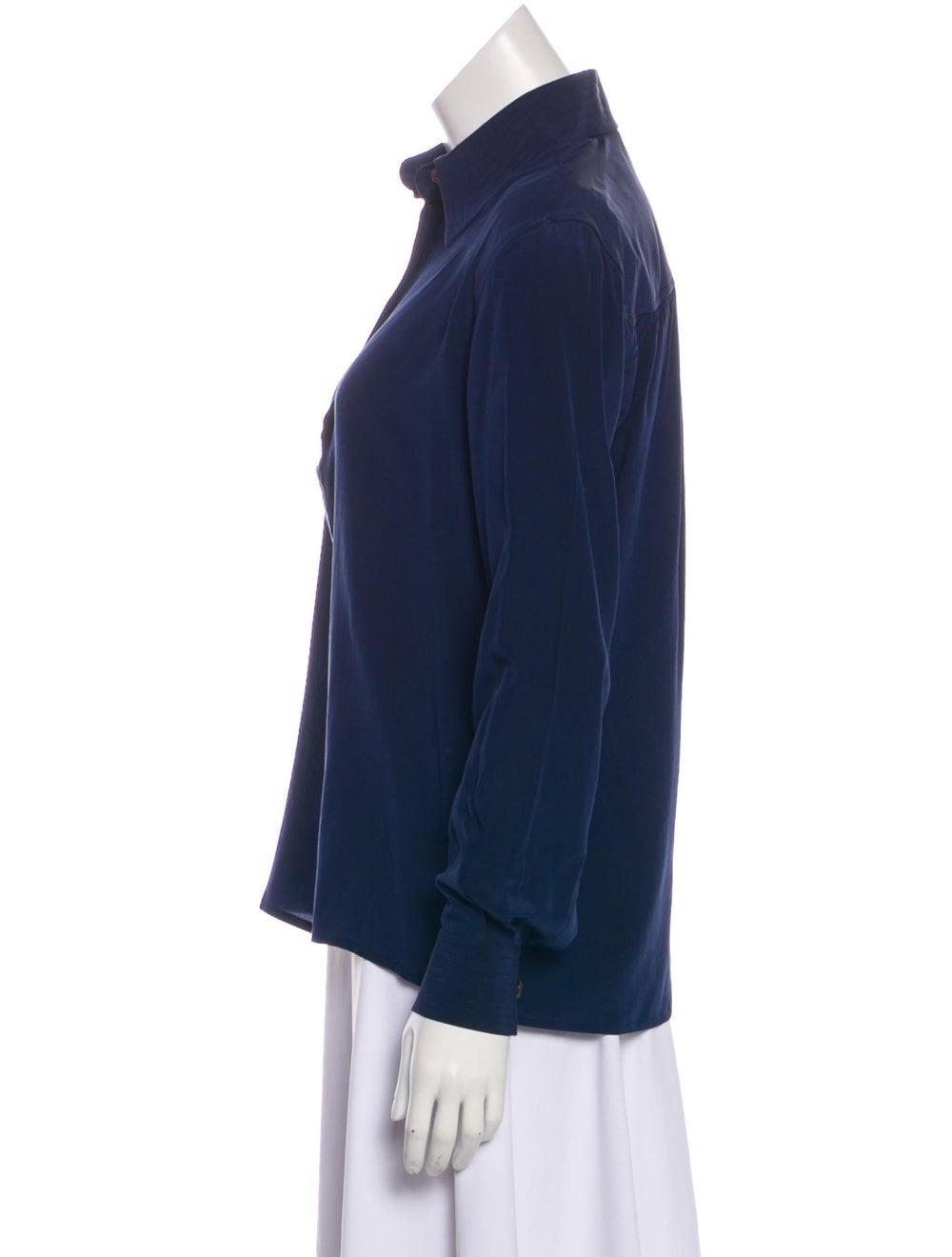 Valentino Long Sleeve Silk Blouse Navy - image 2