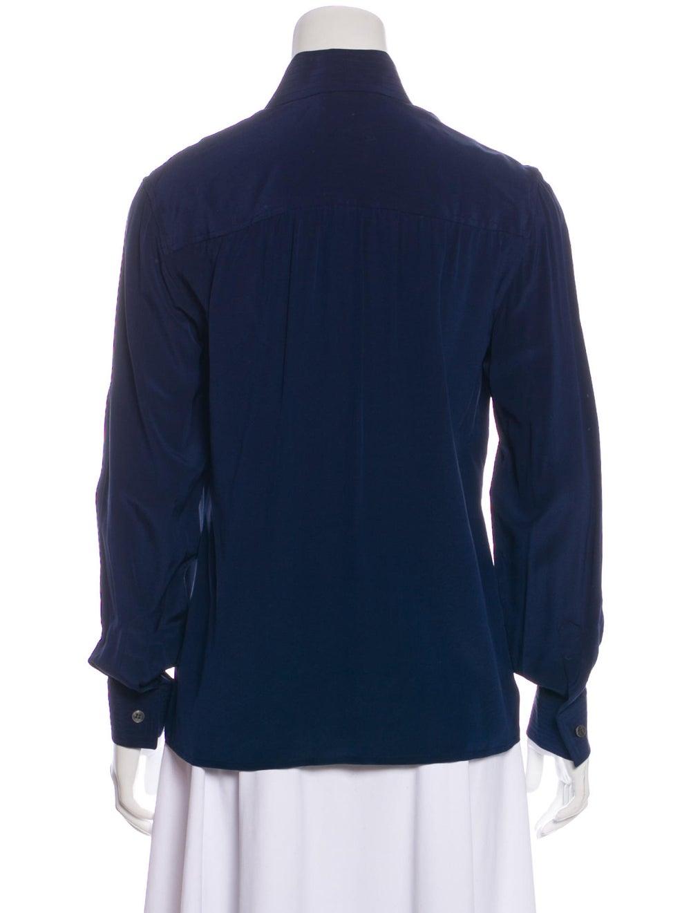Valentino Long Sleeve Silk Blouse Navy - image 3
